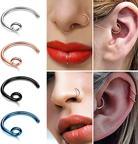 Details about  /Personality Nose Rings Earrings Hoop Ear Nose Fashion Clip On Piercing Jewelry