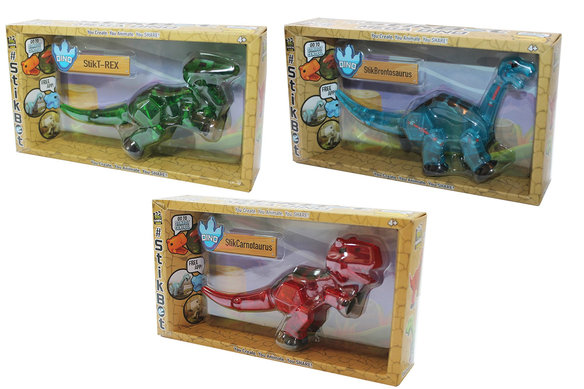 Zing S1265 Stikbot Mega Dino Toy, Assorted 3 Pack