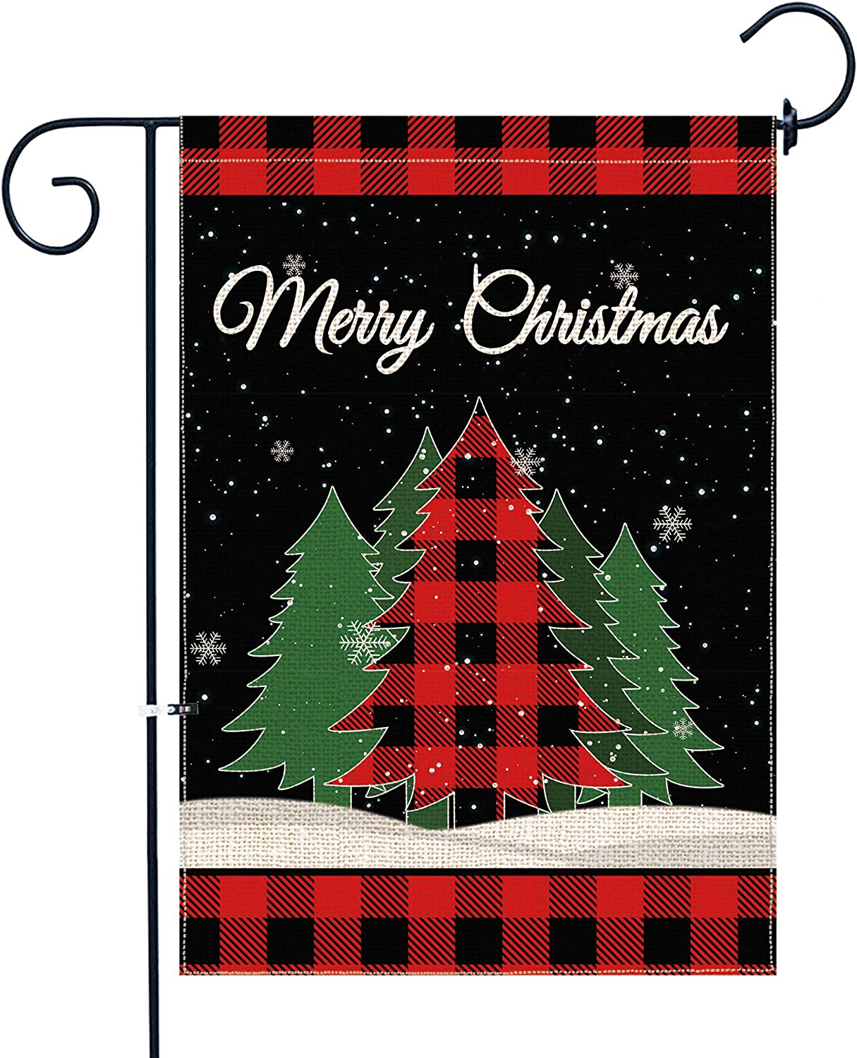 pinata Christmas Tree Garden Flag 12 X 18 Inch Double Sided Small Winter Garden Flag Red Buffalo Plaid Merry Christmas Banner Decorative Yard Flag Burlap Seasonal Cute Holiday Flag for Outside