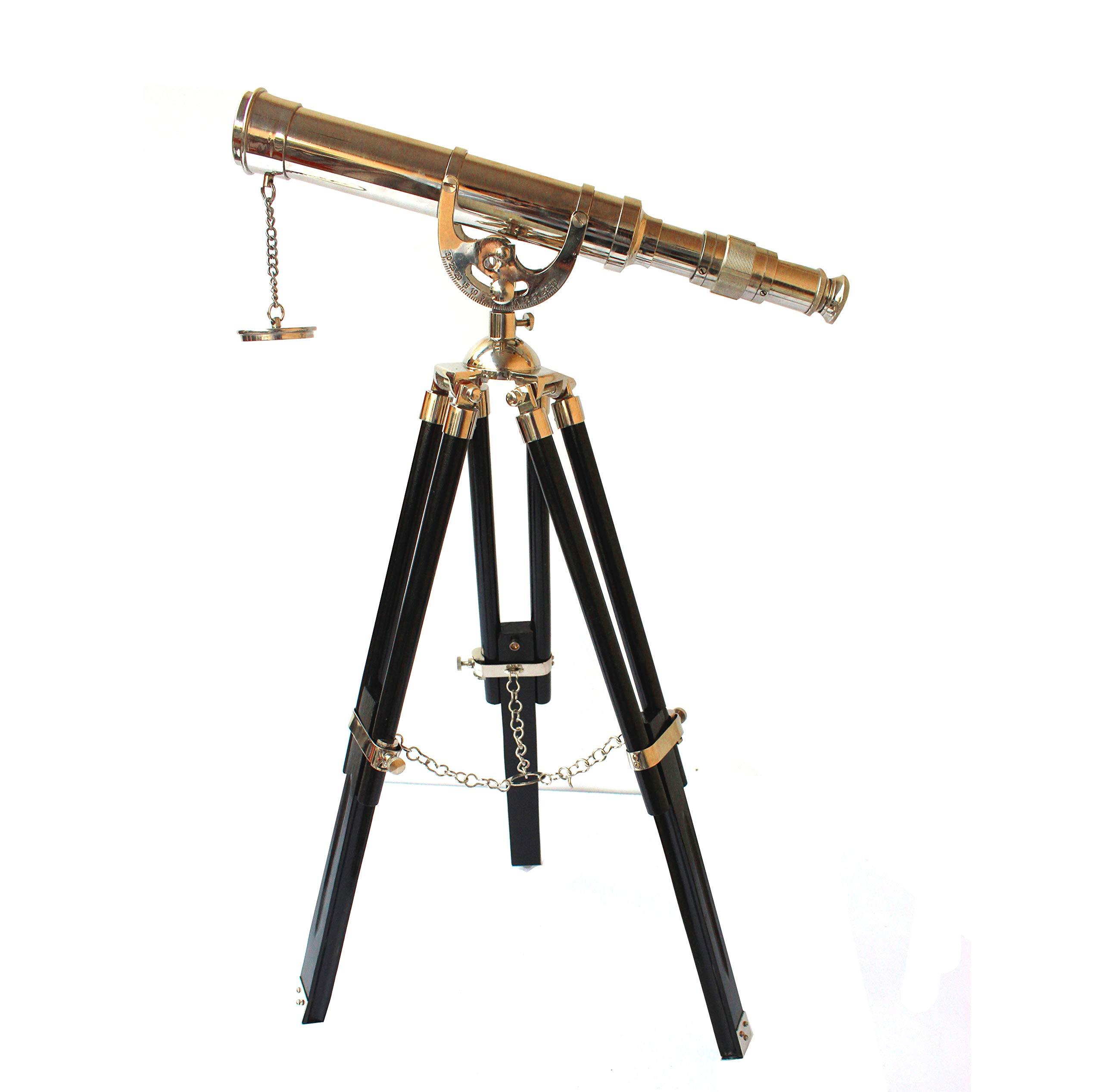 Vintage Antique Tripod Telescope Brass Nautical Telescopes Harbour Master Stand (Nickel Finish)
