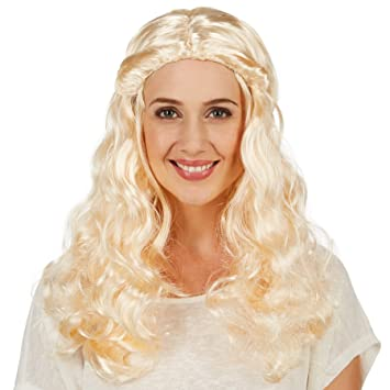 dressforfun Peluca de Elegante Dama de Corte Medieval para Mujer | Hermosa Larga Cabellera Rizada |