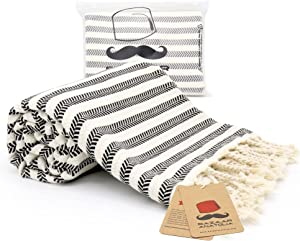 Bazaar Anatolia Arpa Turkish Towel 100% Cotton Beach Towels Oversized 77x38 Bath Towels Boho Farmhouse Bathroom Decor Gym Pool Bridesmaid Gift Quick Dry Towel (Black)