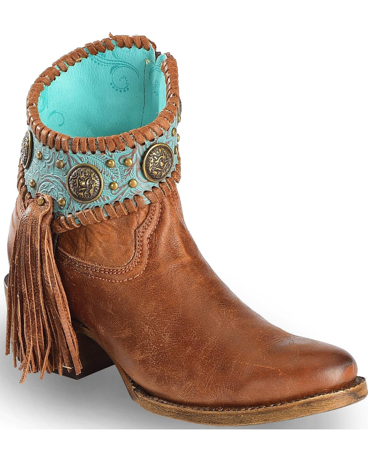 CORRAL Women's Turquoise Fringe Ankle Boot Round Toe - A3196 B01MUWCCRZ 8.5 B(M) US|Cognac/Turquoise