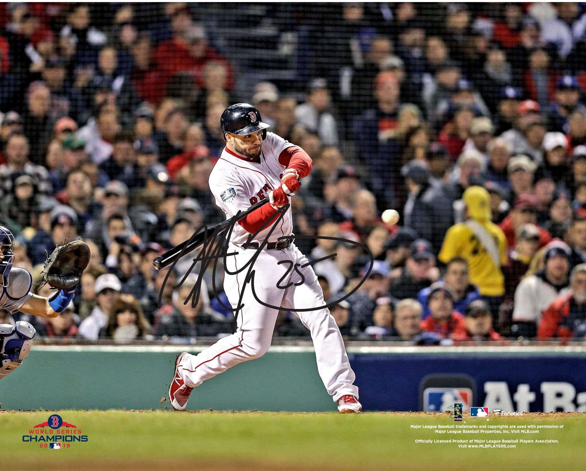 """Steve Pearce Boston Red Sox 2018 MLB World Series Champions Autographed 8"""" x 10"""" World Series Hitting Photograph Fanatics Authentic Certified"""