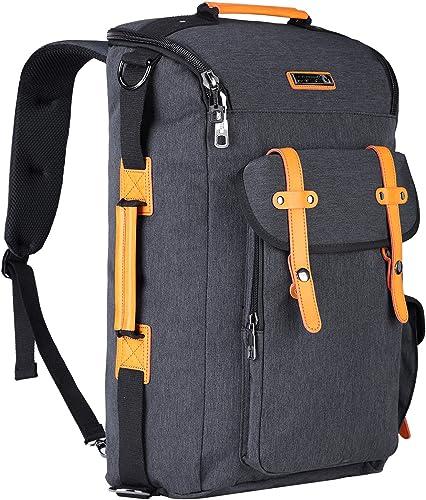 WITZMAN Water Resistant Nylon Casual Backpack Travel Rucksack Laptop Bag 6686, Black