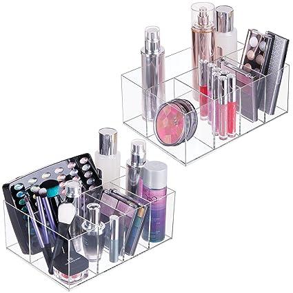 mDesign Juego de 2 cajas transparentes para cosméticos – Organizador de maquillaje con 5 compartimentos –