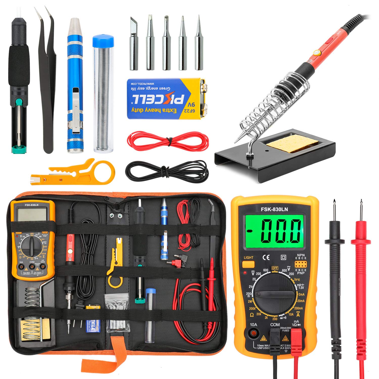 Soldering Iron Kit for Electronics, Yome 19-in-1 60w Adjustable Temperature Soldering Iron with ON/OFF Switch, Digital Multimeter, 5pcs Soldering Iron Tips, Desoldering Pump, Screwdriver, Stand by Yome