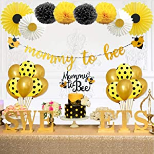 Party Inspo Mommy to Bee Baby Shower Decorations Supplies Kit, Bumble Bee Decorations, Banner, Bee Cake Topper, Bee Balloons for Bumblebee Themed Party