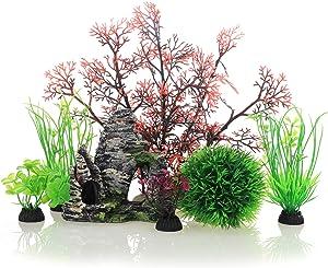 JIH Aquarium Fish Tank Plastic Plants and Cave Rock Decorations Decor Set 7 Pieces, Small and Large Artificial Fish Tank Plants with Cave Rock (CU89Red-7)
