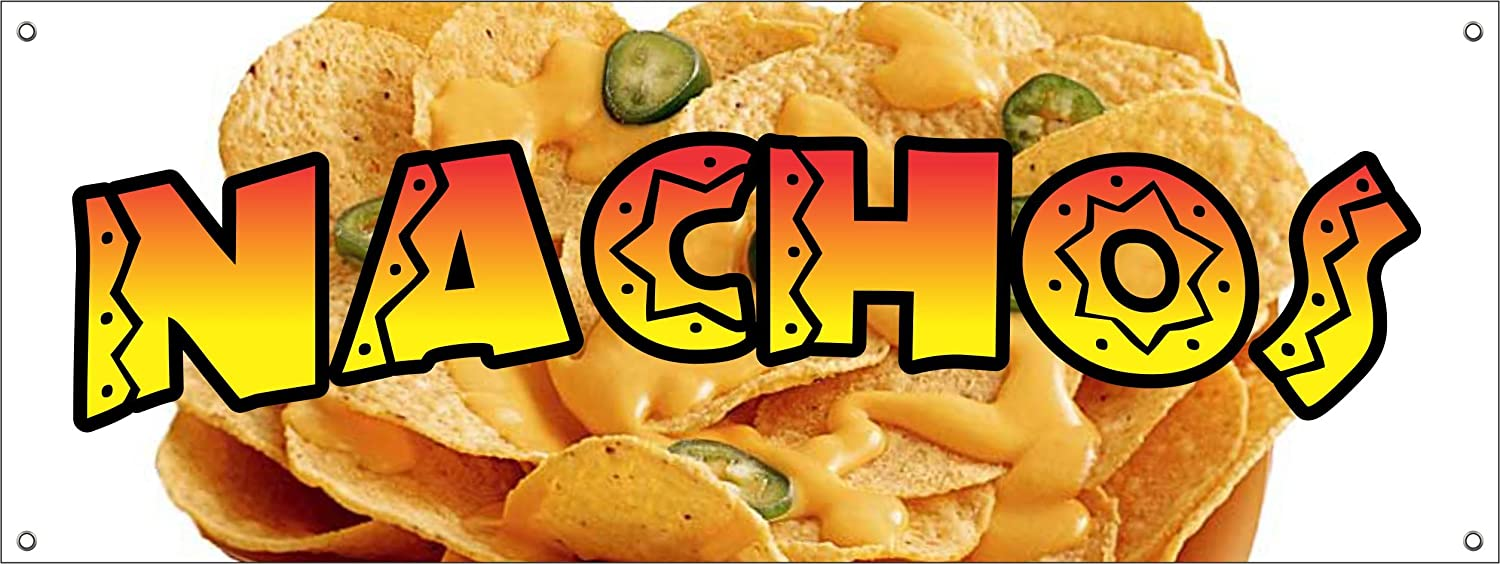 NACHOS VINYL BANNER SIGN cheese chips cart stand signs Mexican food taco burritos (18