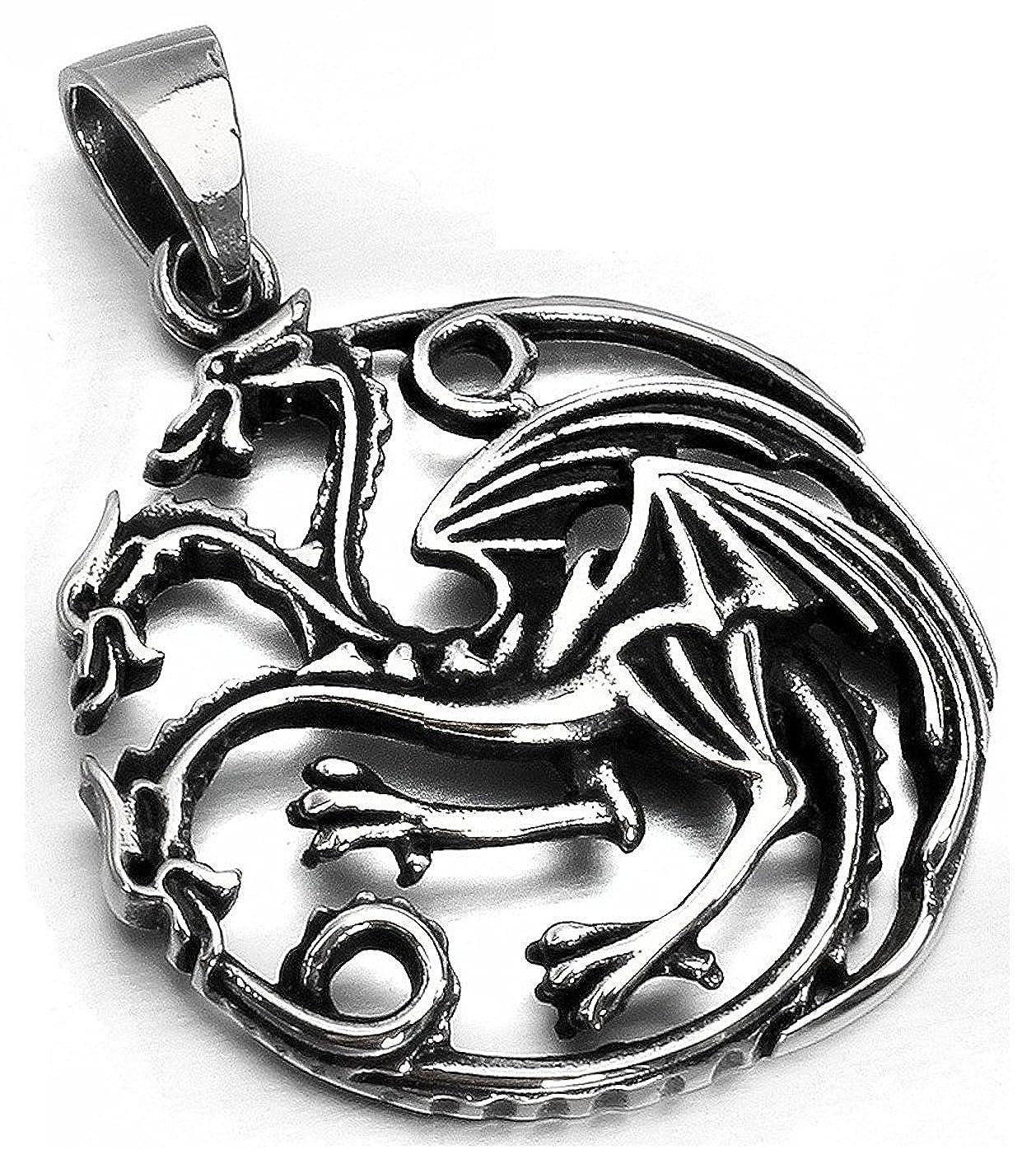 MENDINO Jewellery Mens Pendant Necklace 3 Headed Dragon ...