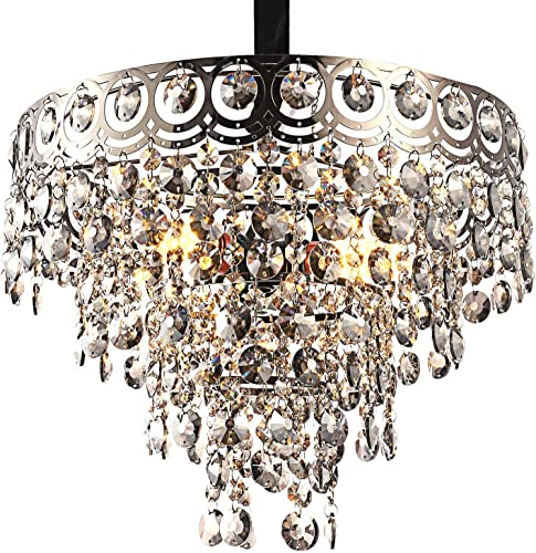 Modern Crystal Chandelier K9 Crystal Lighting Fixture Pendant Ceiling Chandelier for Dining Room Bedroom Living Room 3 E26 Bulbs D15.5 x H12 Transparent Pewter