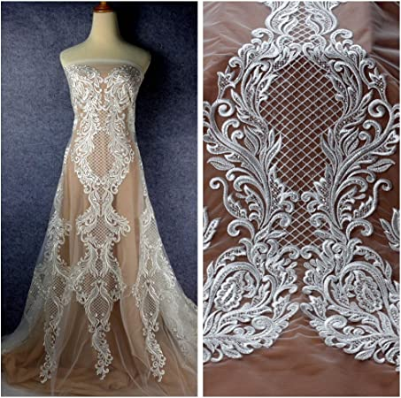Bridal Gown Lace Fabric Embroidered Tull Lace Fabric By The Yard Wedding Dress Fabric Elegant Sequin Embroidery Lace Fabric