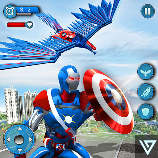 Super Hero Flying Captain Robot American City -