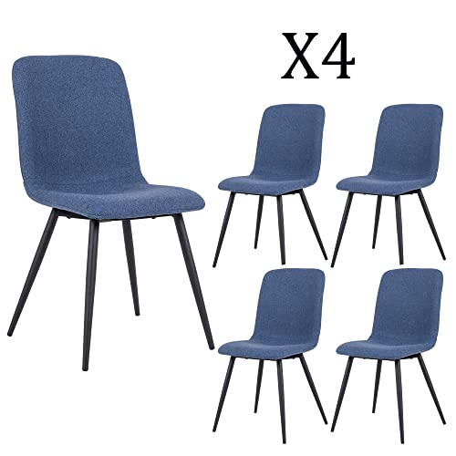 DAGONHIL Dining Chairs for Kitchen,Elegant Velvet Back and Cushion,Mid Century Modern Side Chairs with Sturdy Metal Legs Set of 4 Blue