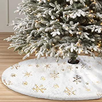 36 inch faux fur white tree skirt with gold sequin snowflakes