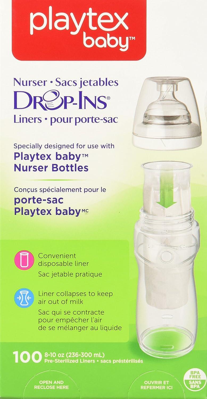 8//10 oz Bottle Liners 100 Count Nurser Drop-Ins Liners Playtex Baby