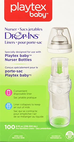50 ct Soft 8 oz Playtex Nurser System Drop Ins Bottle Liners