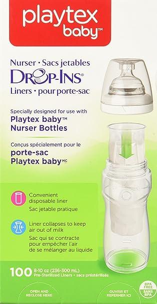 8 oz Soft Pre-Formed Playtex Nurser System Drop Ins Bottle Liners 50 ct