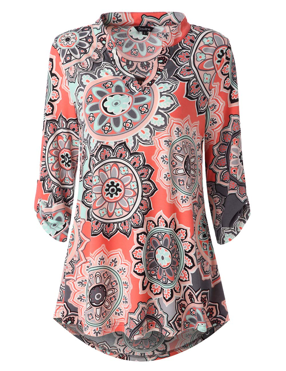 Dawiine Womens Casual Tunic Shirts 3/4 Roll Sleeve Floral Print Pullover Tunic Blouse Tops (S-XXL) (Medium, Mutil Pink)
