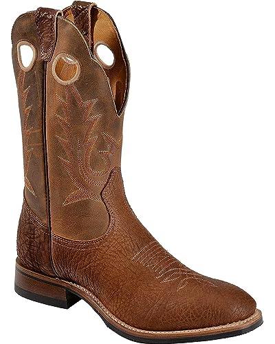 Men's Cognac Roper Cowboy Boot Round Toe - 5117