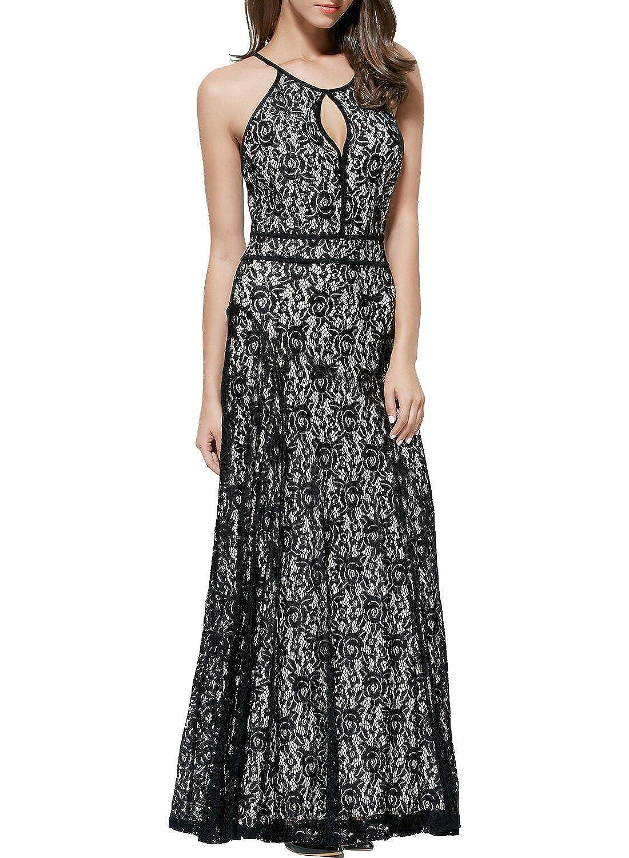 Miusol® Damen Sommerkleid Neckholder Rückenfrei Faltenrock Cocktailkleid Spitzen Langes Kleid Schwarz Größe 36-44