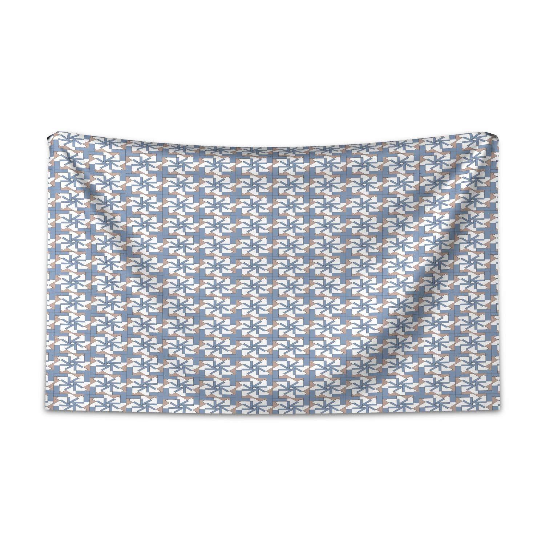 ABAKUHAUS Modern Wandteppich und Tagesdecke, Abstrakte Blumenmotive aus Weiches Mikrofaser Stoff Kein Verblassen Klare Farben Waschbar, 230 x 140 cm, Getrocknete Rose Blaugrau Weiß