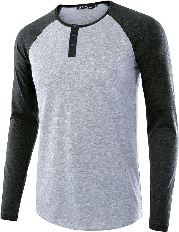 sourcing map Camisas Henley De Algodón Top De Béisbol Casual De Jersey Mangas Largas De Raglán para Hombres - Gris/S (US 36), S (EU 46): Amazon.es: Ropa y accesorios