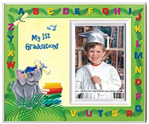 Prek Graduation Kindergarten Preschool Graduation Picture Frame | Colorful and Fun | Holds 3.5 x 5 Photo | First Graduation Keepsake Gift | Innovative Front-Loading Photo | Elephants Design