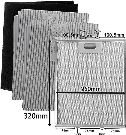 SPARES2GO Malla metálica, filtros de grasa y carbón para campana extractora/ extractor de ventilación (320 x 260 mm, paquete de 4): Amazon.es: Hogar