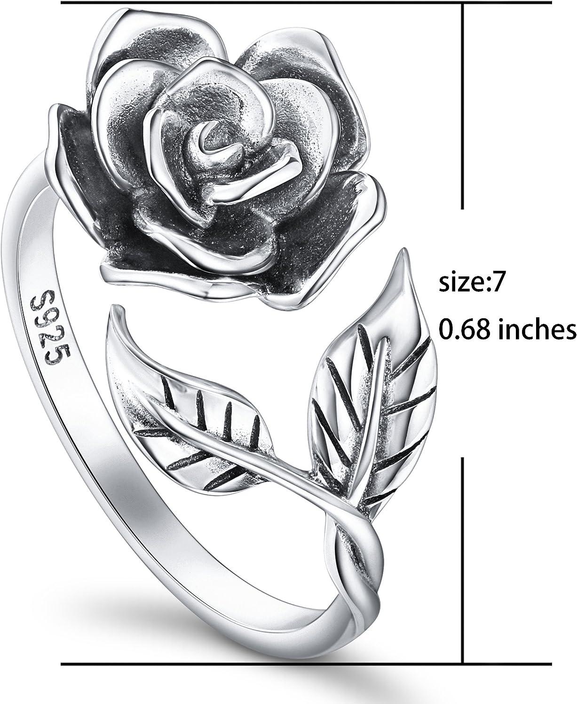 DAOCHONG Vintage Rose Fleur Bague S925 en Argent Massif Femmes Ouvert Bagues Rose Fleur R/églable Anneaux Cadeau Romantique pour Son Anneau R/églable