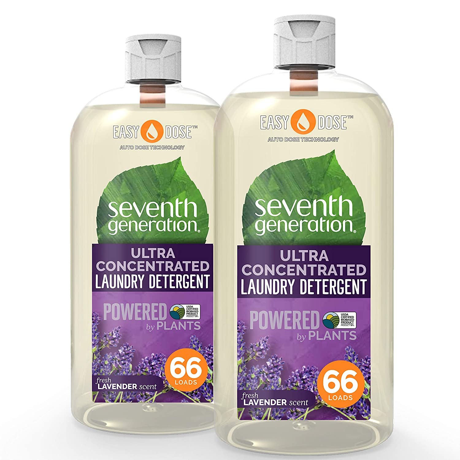 Seventh Generation Laundry Detergent, Ultra Concentrated EasyDose, Fresh Lavender, 23 Ounce, 2 Pack (132 Loads)