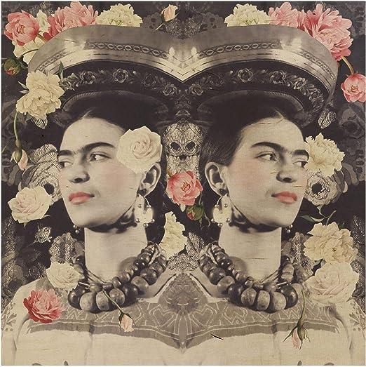 Bilderwelten Cuadro de Madera - Frida Kahlo - Flor Floral Cuadrado ...