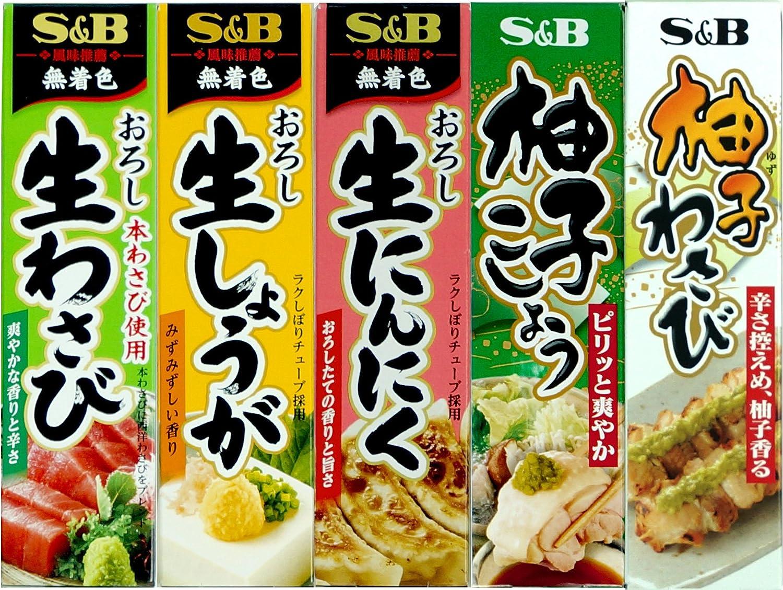 Assortment of Japanese Seasoning S&B Wasabi(Grated Raw Wasabi), Grated Raw Ginger, Grated Raw Garlic, Yuzu Kosho (Citron Pepper), Yuzu(Citron) Wasabi