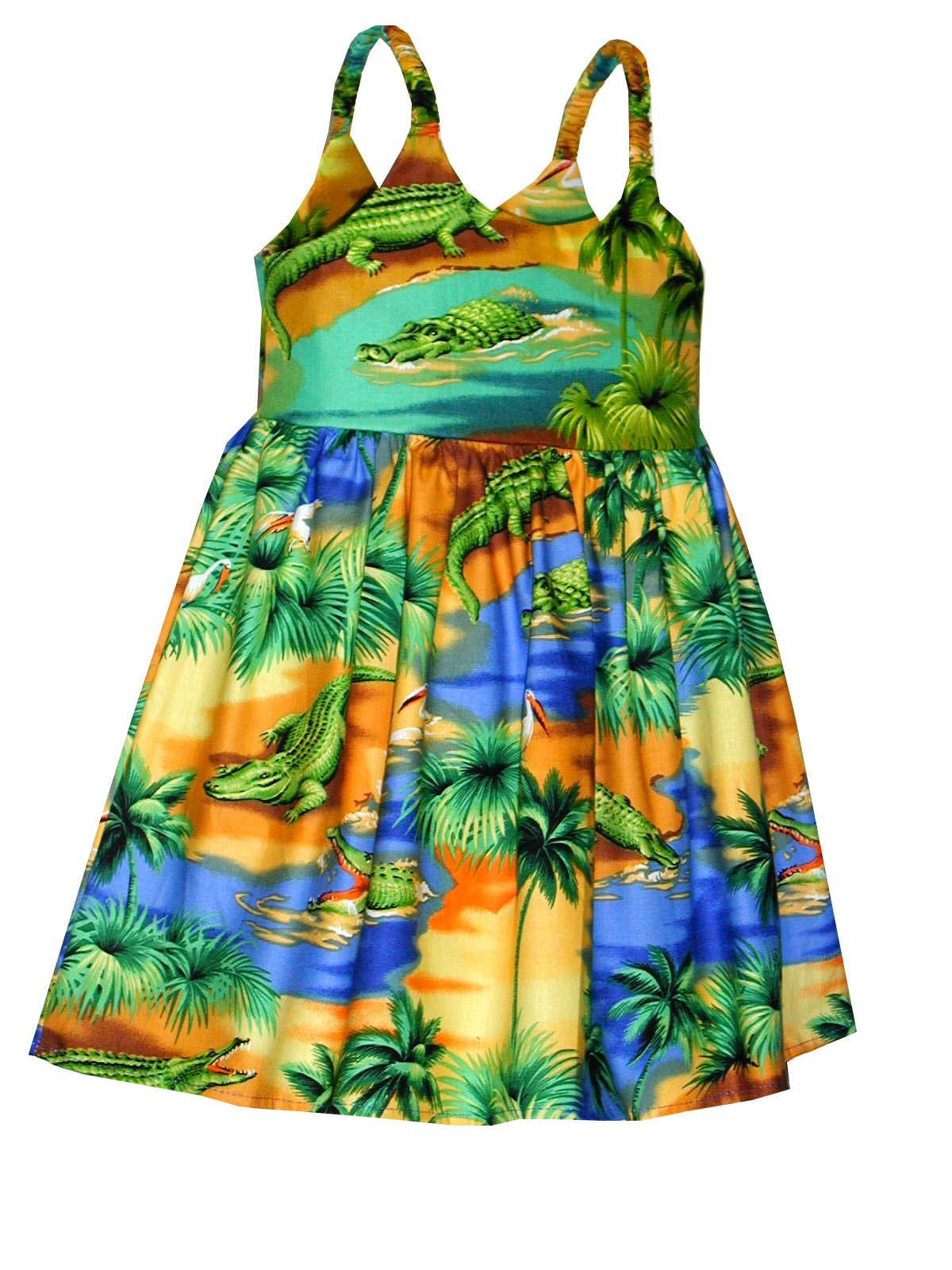 Pacific Legend Girls Florida Alligator Lagoon Toddler Bungee Dress Blue 5-6 for 3yrs old
