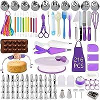 BoYun Cake Decorating Supplies Kit, Set of 216, Baking Pastry Tools, Cake Turntable, Cake Leveler, Numbered Icing Tips…
