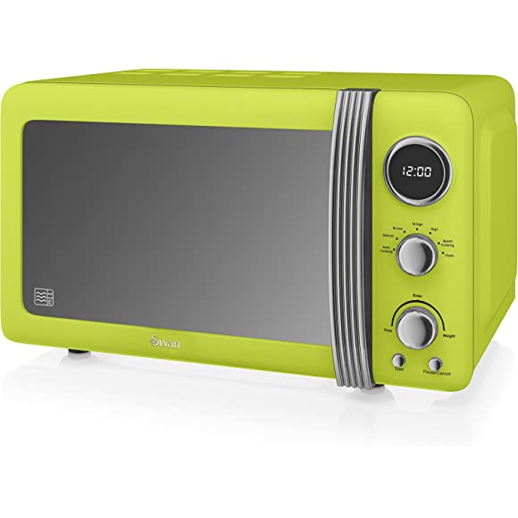 Swan Retro Lime Green Digital Microwave
