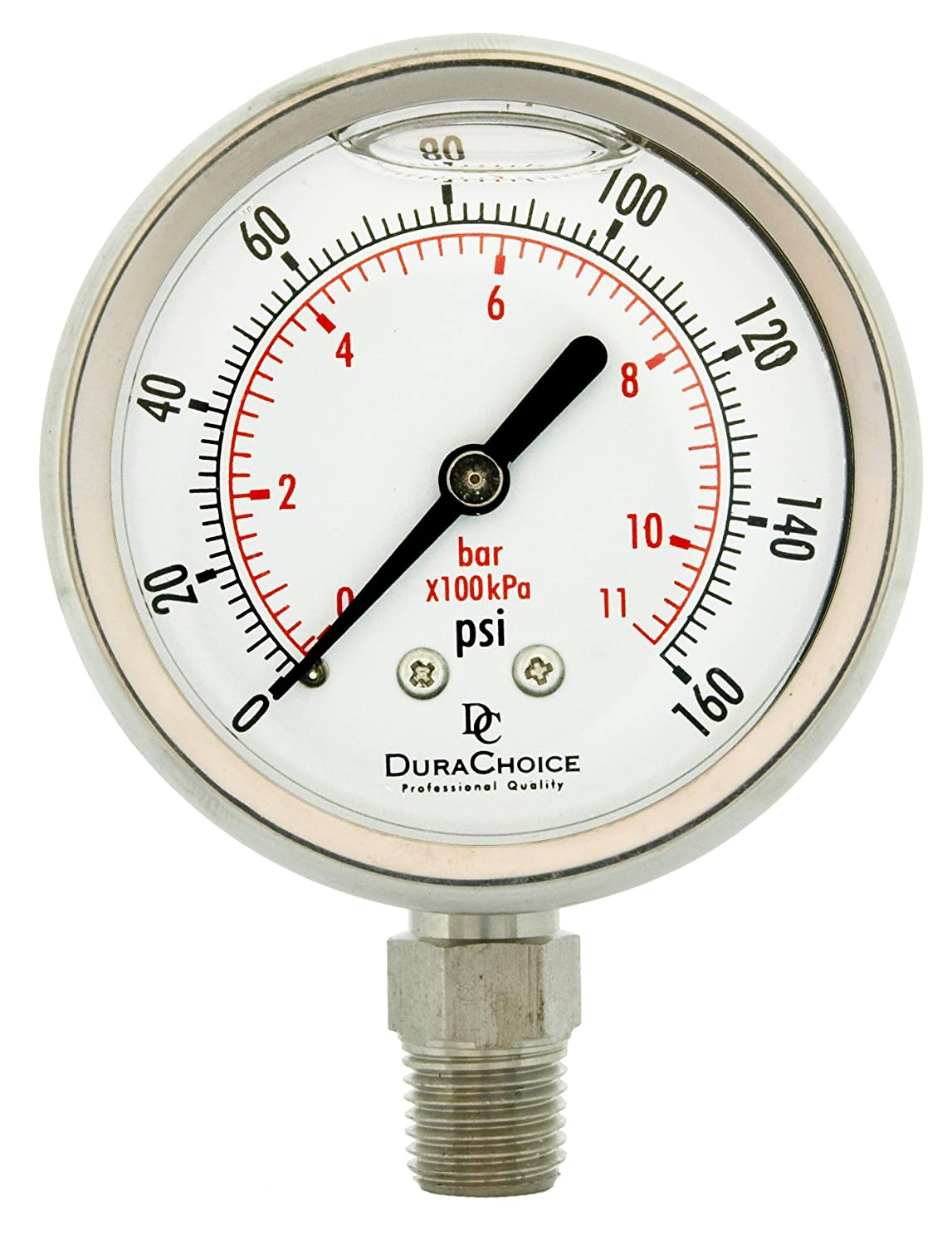 2-1/2' All Stainless Steel Oil Filled Pressure Gauge - 1/4' NPT Lower Mount 160PSI DuraChoice PS254L-160