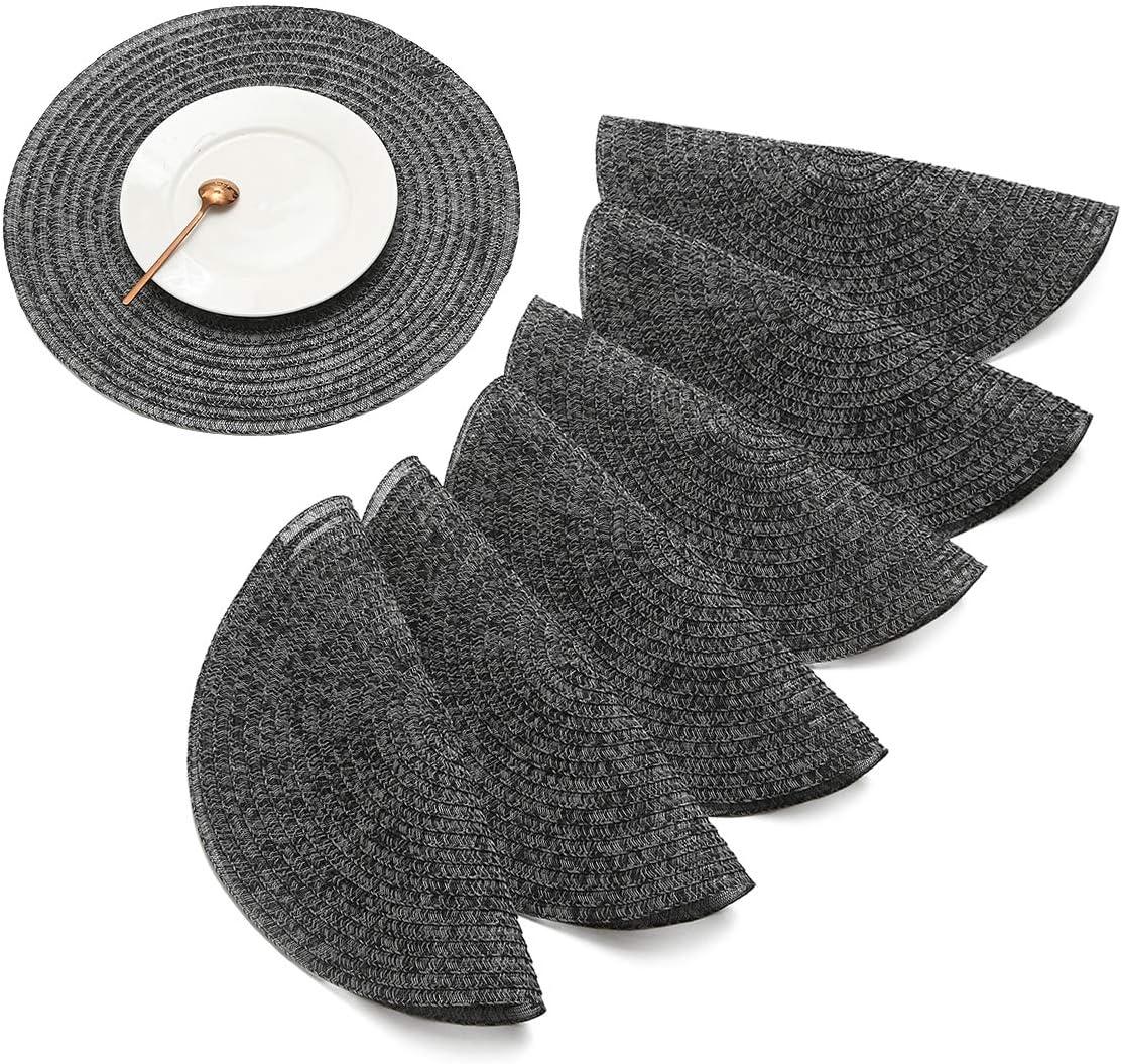 JJ JUJIN Set di 6 Rotondo Tovagliette Americana Non-scivolose Lavabile in PVC Resistente al Calore Tovaglietta per Tavolo da Pranzo 38cm Nero