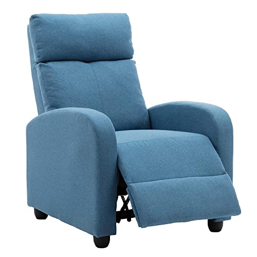 Recliner Chair Modern Soft Fabric Living Room Home Theater Single Chaise Couch Sofa Seat Blue
