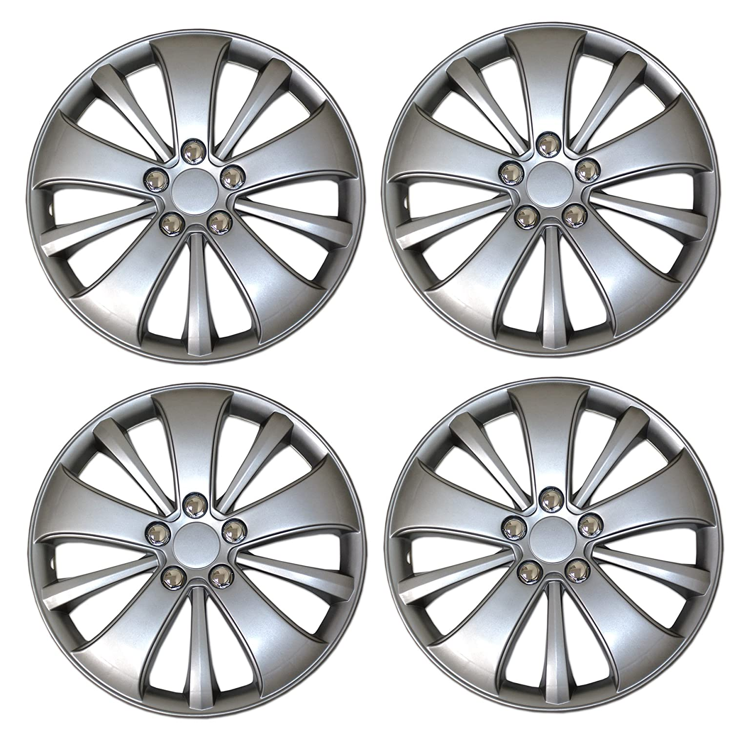 14-Inches Metallic Silver Hubcaps Wheel Cover TuningPros WSC3-615S14 4pcs Set Snap-On Type Pop-On