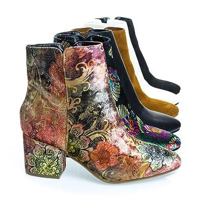 Velvet Oriental Floral Printed Block Heel Ankle Booties Women's Shoe
