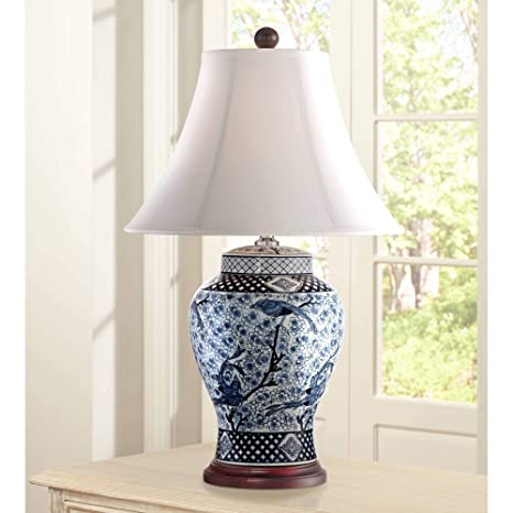 Ordinaire Shonna Traditional Table Lamp Porcelain Blue And White Bird And Branch Jar  White Bell Shade For Living Room Family Bedroom   Barnes And Ivy      Amazon.com