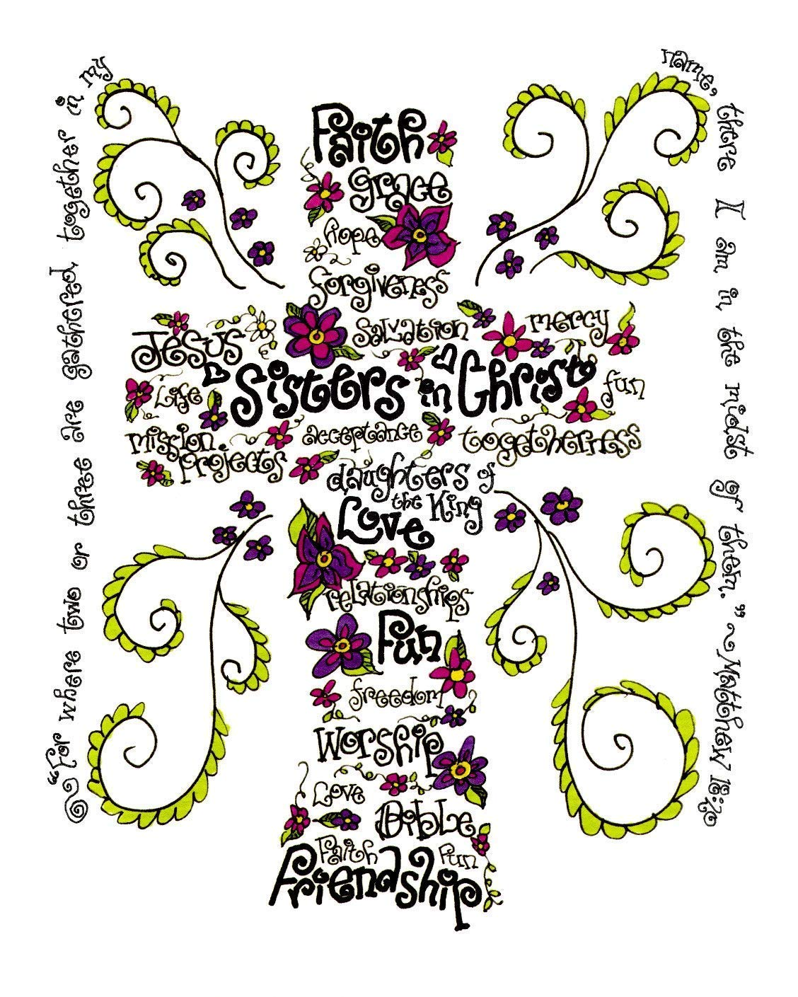 Sisters In Christ Cross 5x7 - Wordart Christian Gift