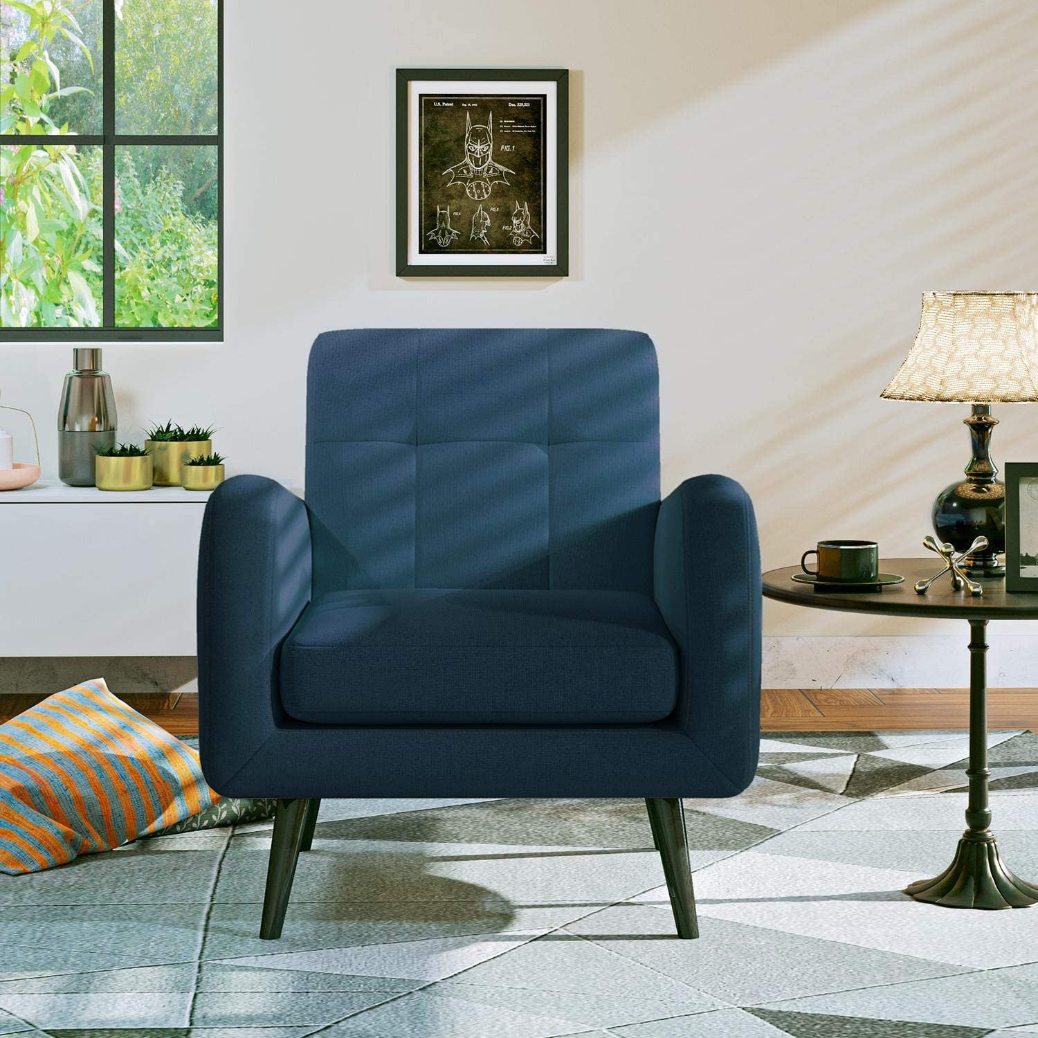 JustRoomy Modern Linen Fabric Armchair Accent Chair Bedroom Chair Living Room Chair Single Sofa Comfortable Upholstered Arm Chair with Tapered Legs for Small Spaces, Dark Blue