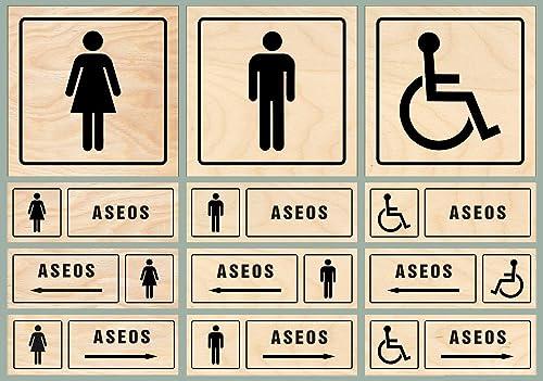 Señales adhesivos | Aseos señoras, Aseos caballeros, Aseos ...