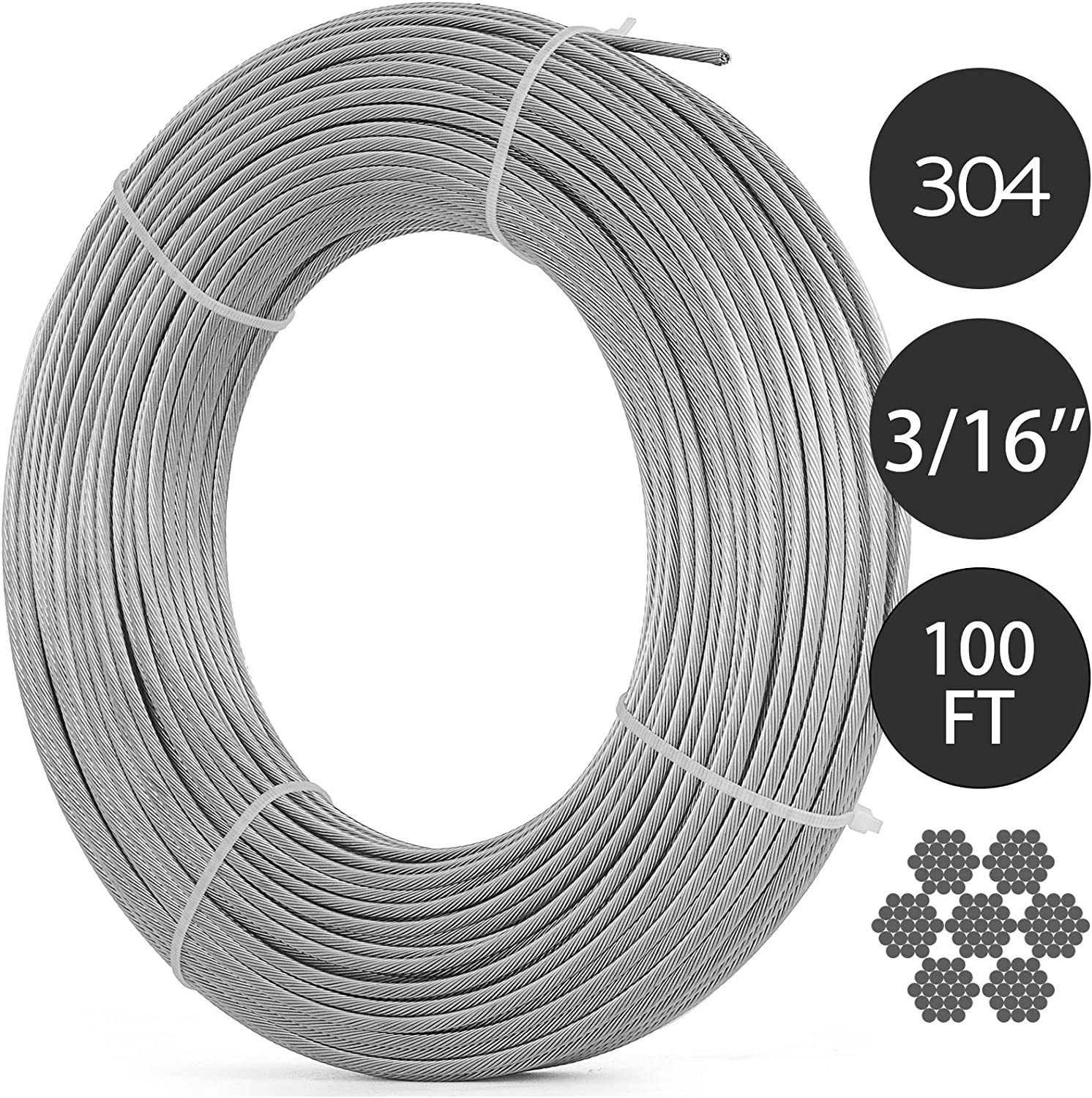 """3//16/"""" Stainless Steel Aircraft Cable Wire Rope 7x19 Type 304 100 Feet"""