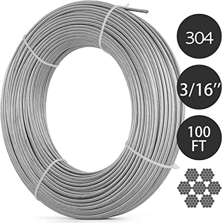"""7x7,100 ft length 3//32/"""" 304 Stainless Steel Wire Rope Cable"""