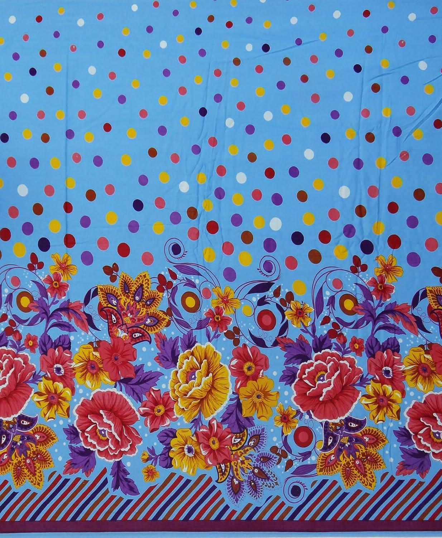 Beige Floral tissu imprimé 42 Large Couture rayonne Tissus par le chantier Indianbeautifulart