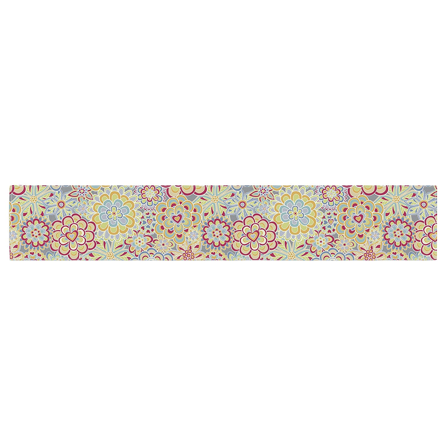Kess InHouse Julia Grifol My Happy Flowers in Red Table Runner